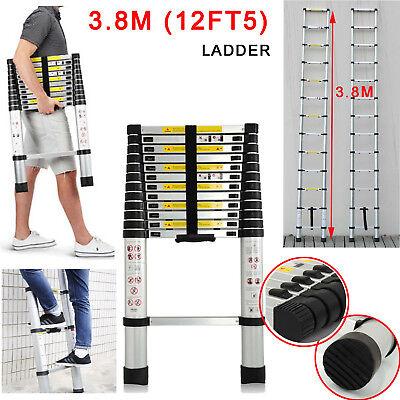 3.8M Folding Telescopic Ladder Extendable Aluminum Home Multi Purpose Scaffold