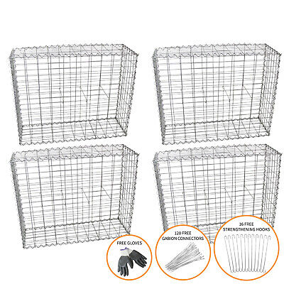 Gabion Baskets Outdoor Cages Stone Wire Mesh Planter / 100 x 95 x 30cm / 4 Pack