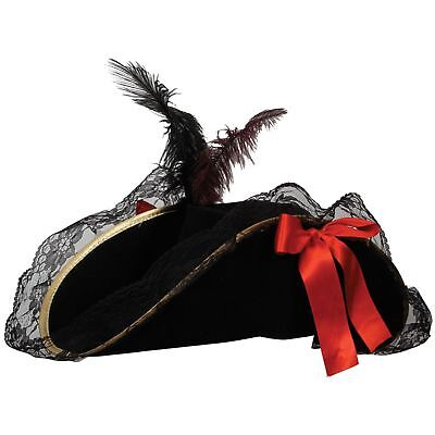Pirate Hat With Feather (Deluxe Female Pirate Hat With Feather Womens Fancy Dress Costume)