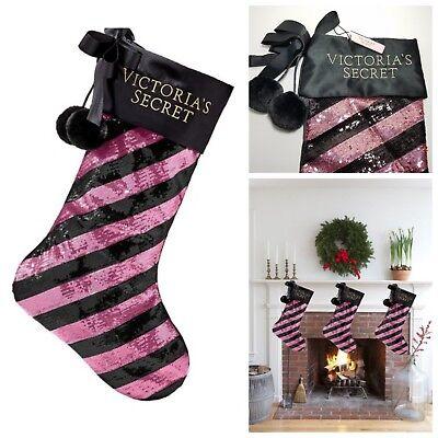 Victoria's Secret Christmas Holiday Stocking Stuffers Rare Sequin Pink Black New