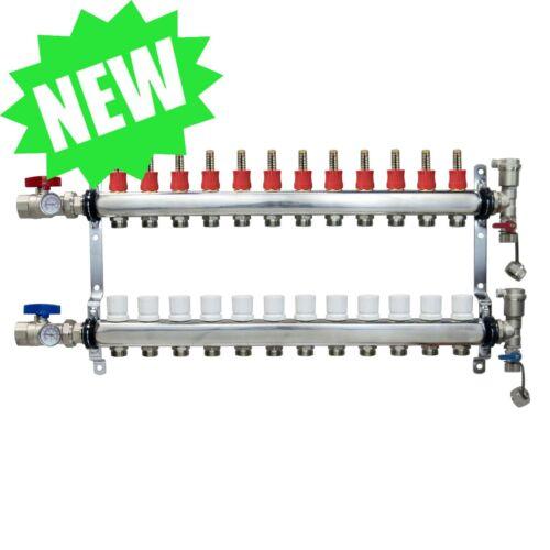 12 Loop/Port Stainless Steel PEX Manifold Radiant Heating w/ connectors- PEX GUY