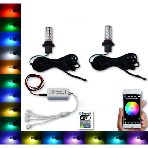 9006 27 SMD RGB Multi-Color Changing Shift Led Fog Light Bulb Bluetooth Pair