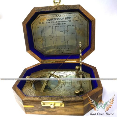 ANTIQUE STYLE BRASS HANDMADE ROYAL NAVY VINTAGE SUNDIAL COMPASS WITH WOODEN BOX