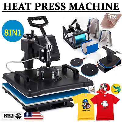 "8 in 1 Dual Digital Transfer Sublimation Heat Press Machine T-Shirt Mug 15""X12"""