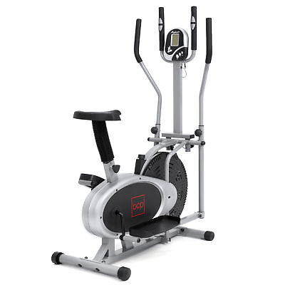 BCP 2-in-1 Elliptical Trainer Exercise Fitness Bike w/ LCD Display - Gray