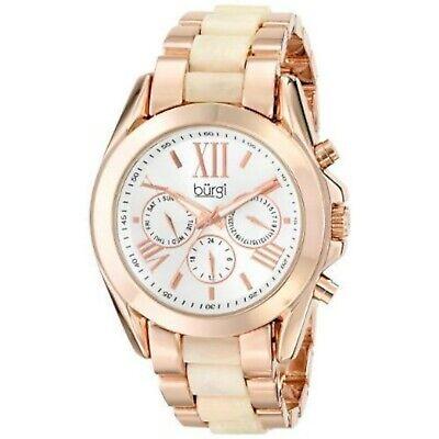 NEW Burgi BUR094RG Womens Classy Analog Display Swiss Quartz Rose Gold Watch 0M