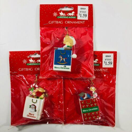 Vintage Plastic Christmas Avenue Ornaments Giftbag Ornament Set of 3 Sealed