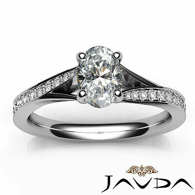 Cathedral Split Shank Pave Oval Diamond Engagement Ring GIA E Color VS2 0.85 Ct 3
