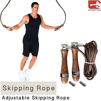Sporteq Adjustable Pro Weighted Handle Leather Fitness Boxing Skipping Rope