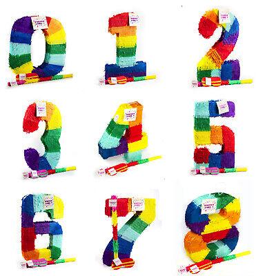 Trendario Pinata Zahlen Set mit Stab+Binde -Kindergeburtstag, Geschenkidee, Spaß