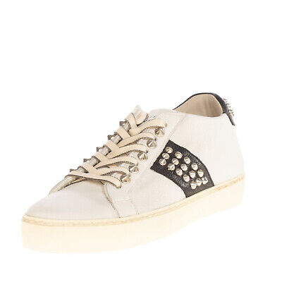 RRP €195 LEATHER CROWN Leather Sneakers EU 36 UK 3 US 6 HANDMADE Made in Italy