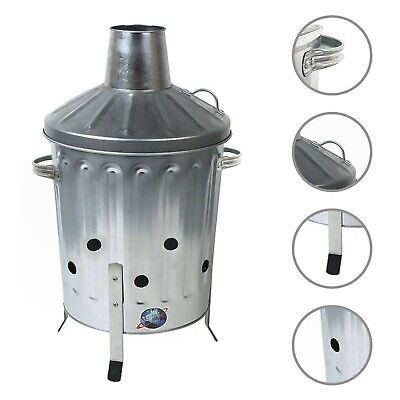 15L Mini Garden Galvanised Incinerator Small Fire Bin Garden Leaf Paper Burning