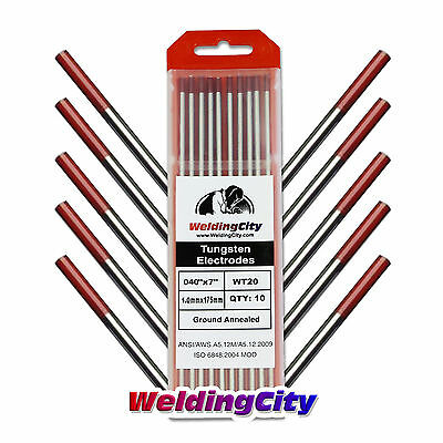 10-pk Tig Welding Tungsten Electrode 2 Thoriated Red .040x7 Us Seller Fast