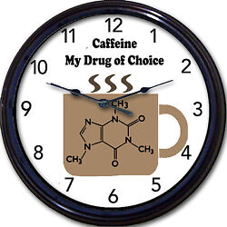 Caffeine Coffee Chemistry Wall Clock Drug Of Choice Mug Cup Java Joe Molecule