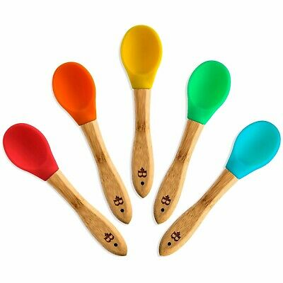 Bambusi Natural Bamboo Baby Spoons - First Stage Weaning Feeding Spoons with -