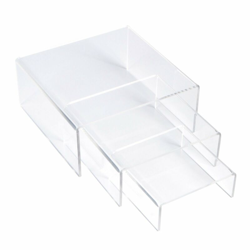 Acrylic Display Risers Clear Stand Set of 3 Medium Low Profile Square Tiered