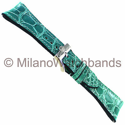 26mm Glam Rock High Quality Hand Made Teal Genuine Alligator Curved Watch Band