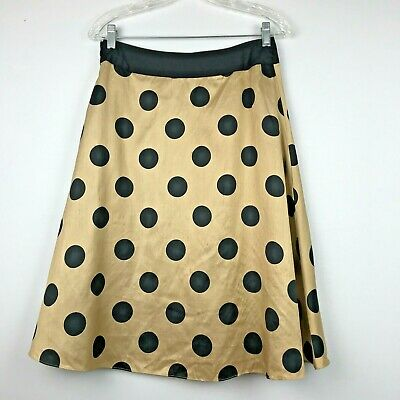 Vintage Ladies Skirt Gold Black Dots A Line Full Prashe Med Silk Lined Cosplay