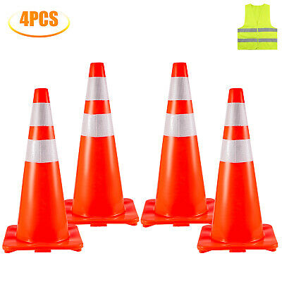28 Traffic Safety Parking Cones 4 Warning Roads Construction Reflective Collars