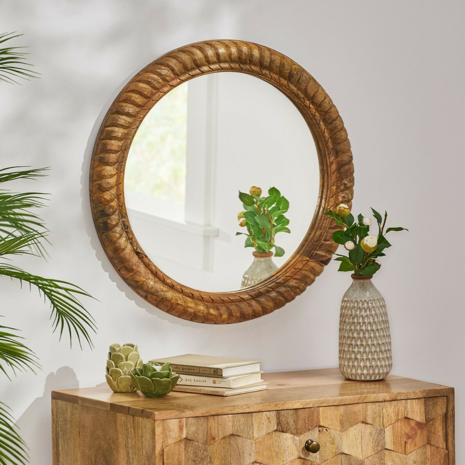 Scio Traditional Handcrafted Round Mango Wood Wall Mirror, Natural Home & Garden