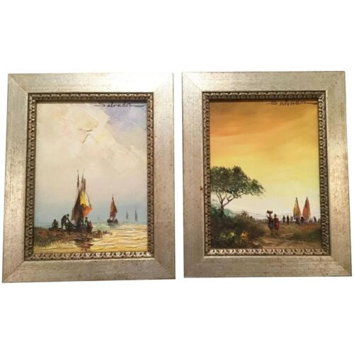 PAIR 1978 Oil Paintings Signed SALVADOR