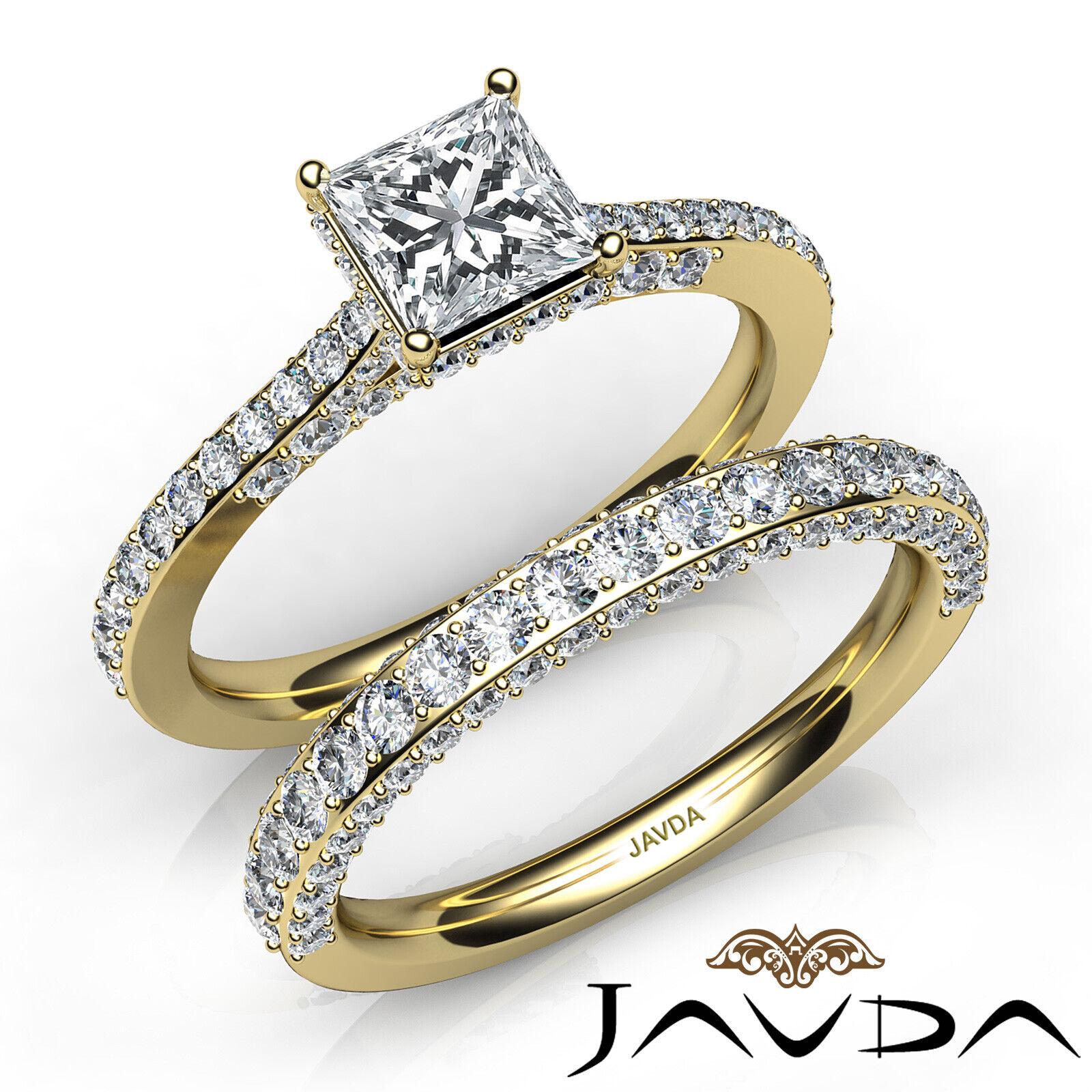 2.35ctw Circa Halo Pave Wedding Set Princess Diamond Engagement Ring GIA G-VVS1 8