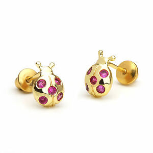 14k Gold Plated Lady Bug Children Screw Back Baby Girls Earrings