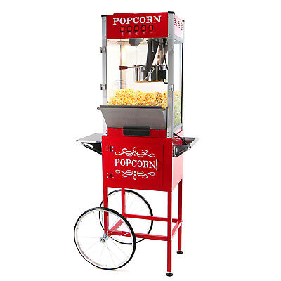 Paramount 16oz Commercial Popcorn Maker Machine Cart - 16 Oz Popper Red