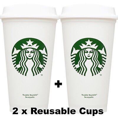 NEW 2x Starbucks Reusable Coffee Tea Cup Tumbler Lid Travel 16 oz Plastic Mug