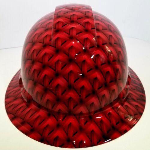 FULL BRIM Hard Hat custom hydro dipped, NEW RED GEO ACID TRIP RATCHET SUSPENSION