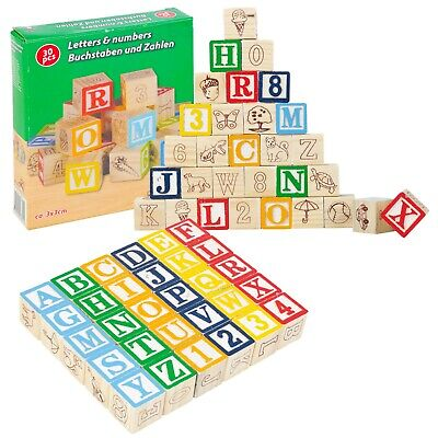 ABC 123 Wooden Letters and Numbers Building Blocks Educational Spelling Names