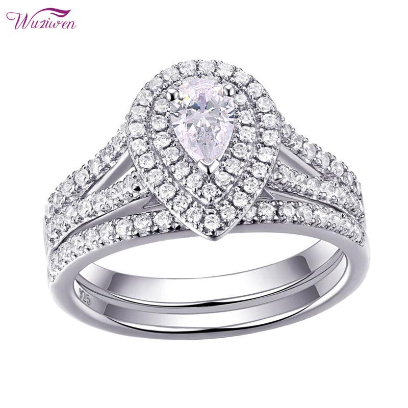 Wuziwen Halo Pear Aaaa Cz 925 Sterling Silver Wedding Engagement Ring Set 5-12