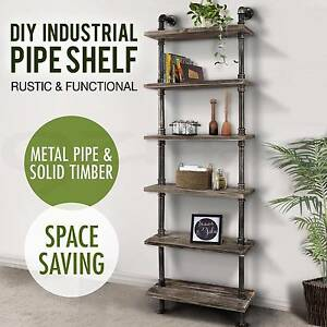 6 Level Rustic Industrial DIY Pipe Ladder Tier Shelf Bookshelf Melbourne CBD Melbourne City Preview