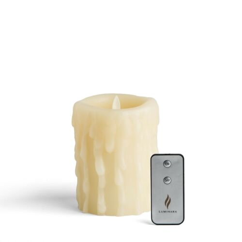 """Luminara Heavy Wax Drip 5"""" Flameless Candle with REMOTE - IVORY - NEW"""