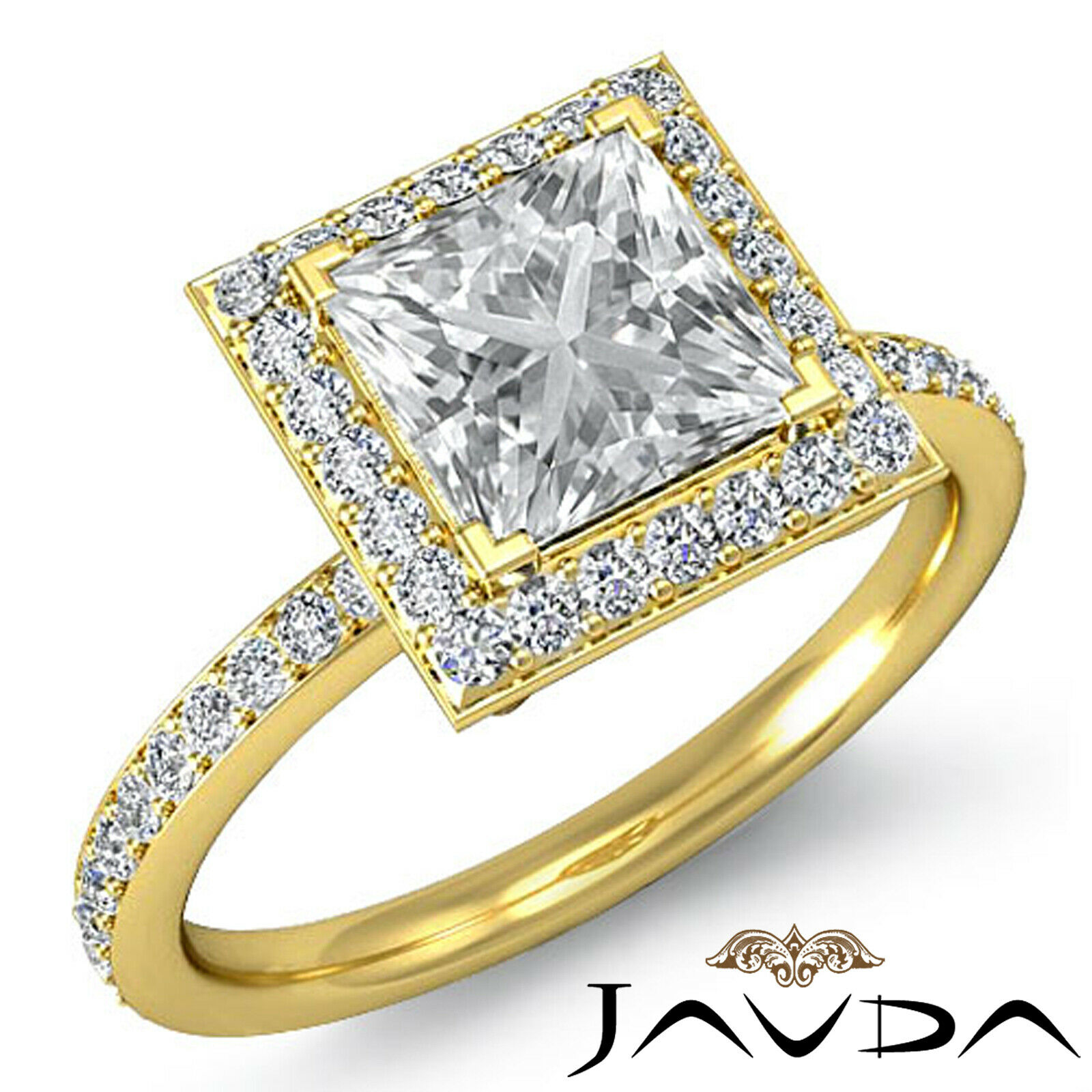 Halo Pave Set Princess Cut Diamond Engagement Ring GIA G Color VS1 Clarity 2.5Ct 7