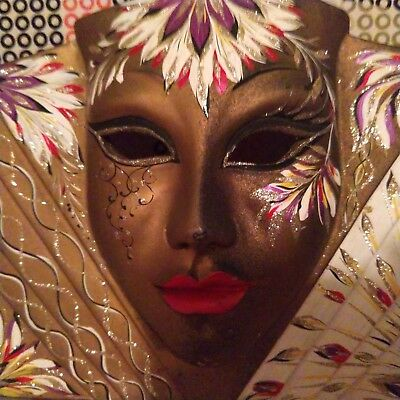 Vintage Art Deco Style Mardi Gra, Carnival Womans Face Mask Wall Decor- Italy
