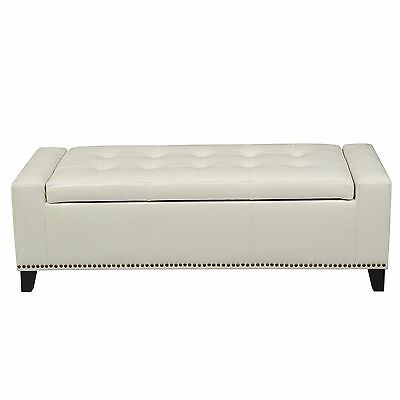 Contemporary Studded Off-White Leather Storage Ottoman Bench