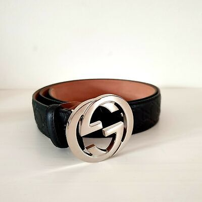 Gucci Signature Embossed Leather Belt | Black | 105-42 | NEW