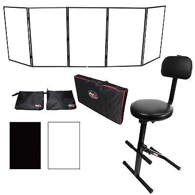 ProX Black Aluminum 5-Panel DJ Scrim Facade Frontboard w/ Travel Case + Chair