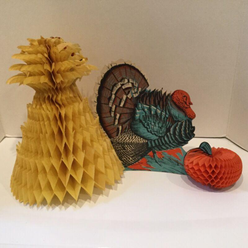Vintage Thanksgiving Holiday Turkey Honeycomb Centerpiece Decoration Beistle USA