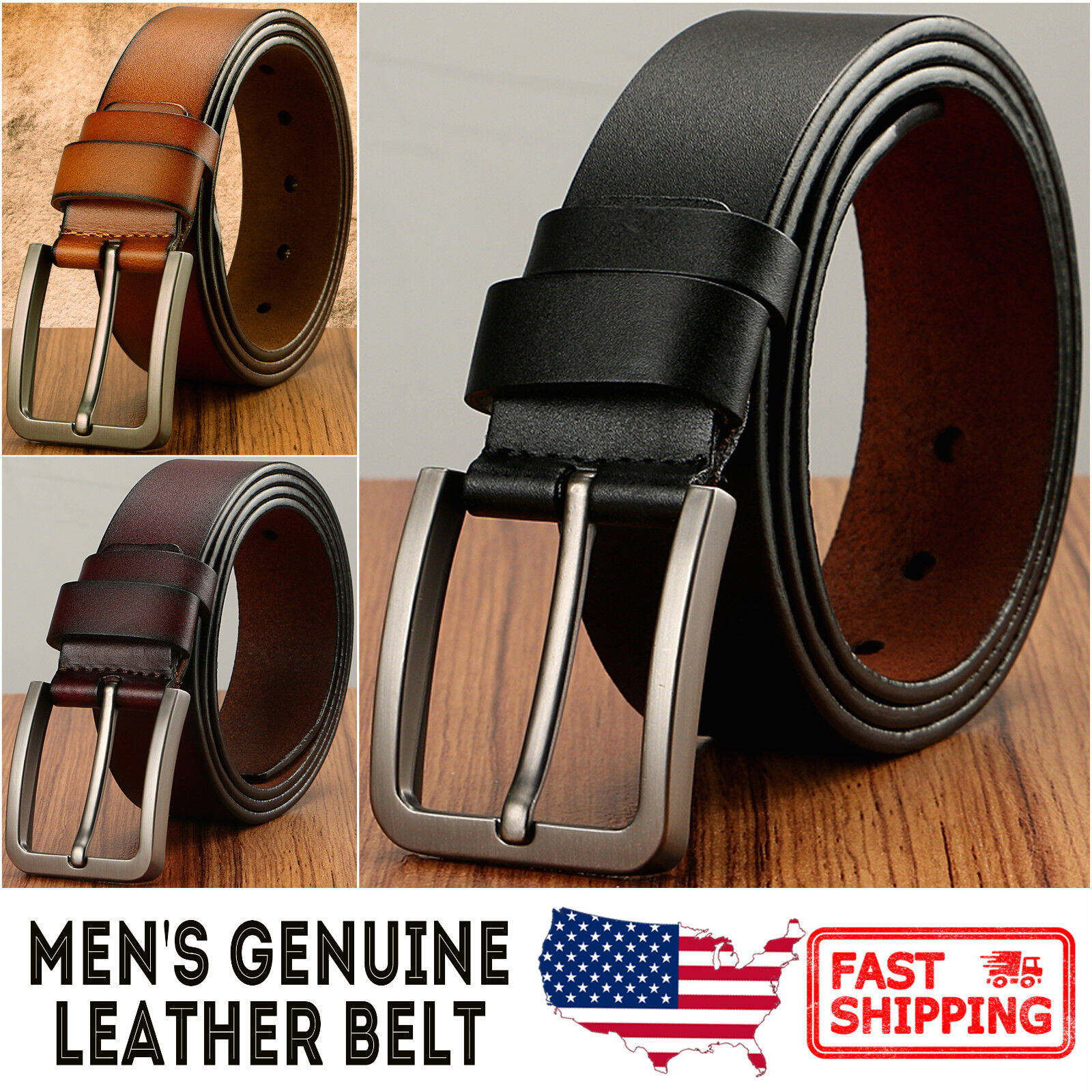 Men's Classic Metal Buckle Handcrafted Genuine Leather Jean