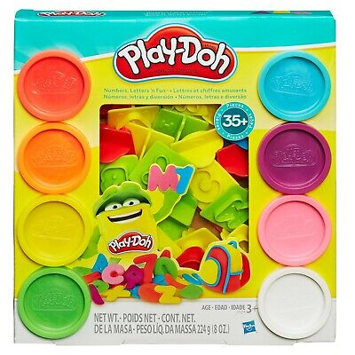 Play Dough Sets (NEW Hasbro Play Doh Numbers Letters 'N Fun Set with 8 Cans of Dough & 35+)