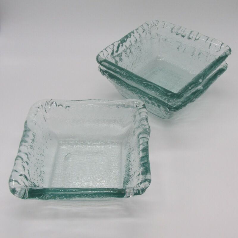 Recycled Glass Green Square Bowls Dessert Fruit Candy Trinket Dishes