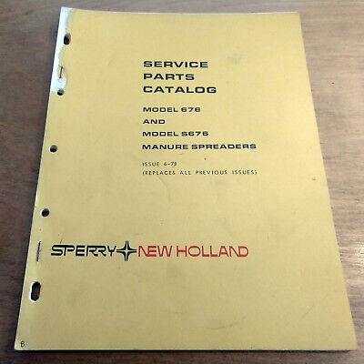 New Holland 676 S676 Manure Spreader Parts Manual Nh