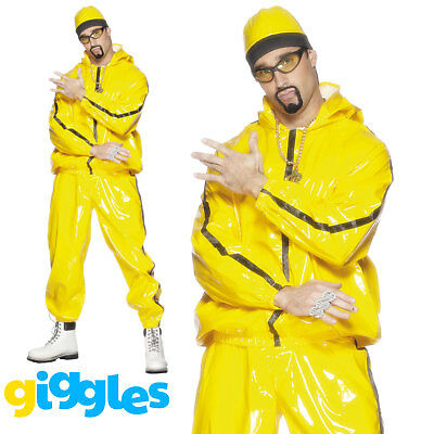 Ali G Halloween Costume Yellow kit Gold Plated Necklace Beanie Glasses VERY RARE