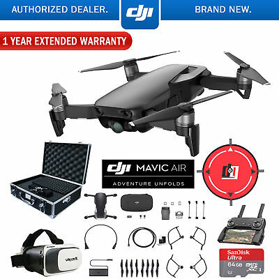 DJI Mavic Air Onyx Black Drone Deluxe Fly Case Bundle With Warranty Extension