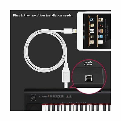 Lightning to Type-B MIDI Converter High Speed USB 2.0 Cable for iPhone X 8 iPad