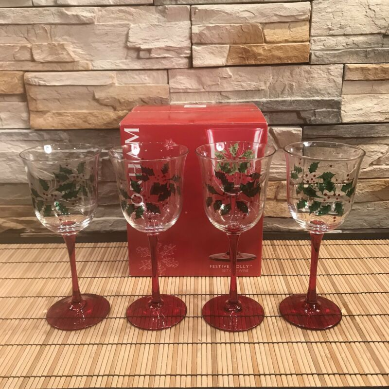 """Gorham """"FESTIVE HOLLY""""  Wine Crystal Glasses, Handpainted And Handcut, Set Of 4"""