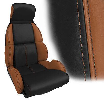 1991-1993 Corvette Standard Leather Seat Covers, 2 Tone Cognac w/Black Inserts