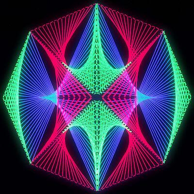 Stringart UV Deko - Goa Psy Trance Party - Schwarzlicht Fadenkunst - Achteck 6B